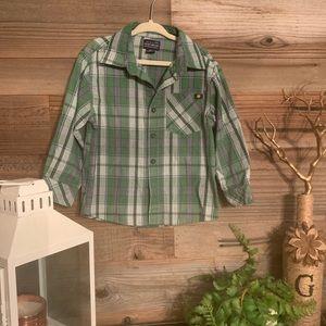 Green Lucky brand Plaid boys button down shirt